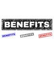 grunge benefits scratched rectangle stamp seals vector image vector image