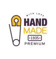 handmade with love logo template premium since vector image vector image