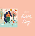 happy earth day template with woman and cat vector image
