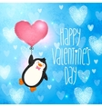 Happy Valentines Day card with penguin vector image