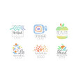 herbal center logo design collection healthy food vector image vector image