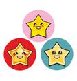 japanese manga stars hand drawn sticker set vector image