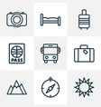 journey icons line style set with bus compass vector image