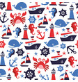 nautical fun seamless pattern background vector image vector image