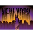 new york city and statue liberty vector image