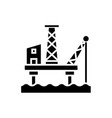oil platform icon black sign vector image
