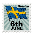 post stamp of national day of Sweden vector image vector image