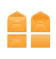 realistic orange envelope set on white vector image