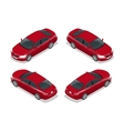 Red Sedan Car Flat isometric high quality city vector image vector image