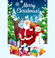 santa snowman and reindeer with christmas gifts vector image vector image