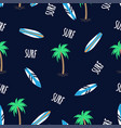 seamless pattern surfboards and palm trees vector image vector image