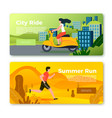 set banners with running man and girl vector image vector image