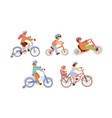 set children riding bicycles different types vector image vector image