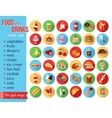 set colorful food and drinks icons flat style vector image
