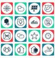 set of 16 eco icons includes cigarette sun power vector image