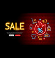 shopping sale neon banner design vector image vector image