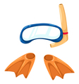 snorkeling equipment and flippers vector image