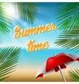 Summer Time in Beach with sea and palm leaves vector image