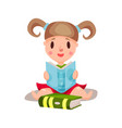 sweet little girl sitting and reading a book vector image vector image