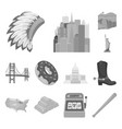 usa country monochrome icons in set collection for vector image