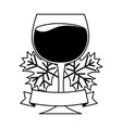 wine glass leaves ribbon vector image