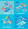 water park flat isometric poster set vector image