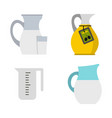 jug icon set flat style vector image