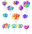set of bunches of colorful helium balloons vector image