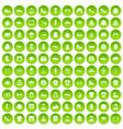 100 fashion icons set green circle vector image vector image