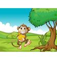 A happy monkey with bananas vector image vector image
