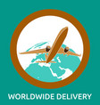 air delivery to any place in world hand-drawn vector image