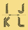 alphabet polynesian style in a set ijkl vector image vector image