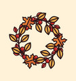 an autumn wreath with leaves and berries vector image