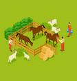 animal farm livestock with horses goats sheeps vector image vector image