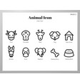 animal icons line pack vector image