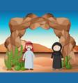 arab people standing in desert vector image vector image