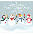 beautiful flat design christmas card with snowman vector image vector image