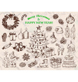 Big set of Christmas decorations in sketch style vector image vector image