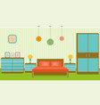 bright bedroom interior in flat style vector image vector image