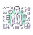 businessman doodle profession vector image vector image