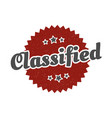 classified sign classified round vintage retro vector image vector image