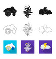 design of weather and climate symbol set vector image