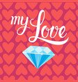 diamond over heart shapes background for valentine vector image