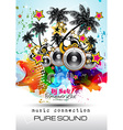 Disco Night Club Flyer layout with Speaker shape vector image