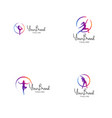 fitness and yoga logo template vector image vector image