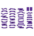 flat ribbons banners ultra violet color trendy vector image vector image