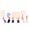 hands with blank placard people holding protests vector image vector image