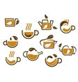 Herbal tea cups and pots icons vector image