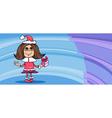 little girl santa greeting card cartoon vector image
