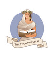 major arcana emblem tarot card the high priestess vector image vector image